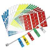 YOTINO 600er Selbstklebend Kabeletiketten, 5 Farben sortiert(Jeder Farbe 120 Stück) UV-beständige,...