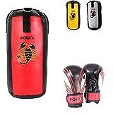 POWRX Boxset für Kinder/Jugendliche, Boxhandschuhe + Boxsack - ab 6 ((2 Fuß) (Rot/Schwarz)