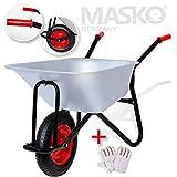 Masko® Schubkarre 100 Liter 250kg ✓ Bau Transportwagen ✓ Garten ✓ Luftrad ✓ Gartenkarre...