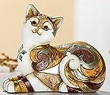GILDE exklusive Dekofigur Katze Katzenfigur Dekokatze byzantini mit Spiegelmosaik,liegend, nach...