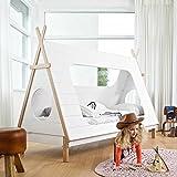Pharao24 Tipi Kinderbett aus Kiefer Massivholz Weiß