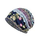 SHOBDW Unisex Print Hat Ruffle Cancer Hat Beanie Scarf Collar Turban Head Wrap Cap