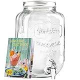 Levivo Getränkespender aus Glas, mit Zapfhahn, ideal für die Bar im Haus / exklusives GU Booklet...