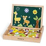 INTEY Magnetisches Holzpuzzle Puzzle Tafel Doppelseitiges Magnetisches Holzspielzeug mit Bunten...