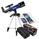 Emarth 70mm/360 Refraktor Teleskop für Kinder und Einsteiger für Beobachtung von Himmel und...