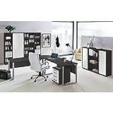 Komplett Büromöbel Set in anthrazit mit Hochglanz weiß ● 2x 140cm Schreibtische mit...