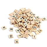 AllRight 200 Stück Scrabble Buchstaben Holz Scrabblefliesen Scrabblesteine Alphabet Brettspiel