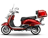 Retro Roller Easy Cruiser Chrom 50 ccm weinrot Motorroller Scooter Moped Mofa Easycruiser rot