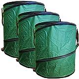 3x Gartenabfalltonne Pop Up faltbarer Gartensack Set 160 Liter Laubsack aus stabilen Oxford Nylon...