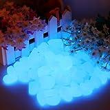 Leuchtsteine nachtleuchtende Steine Leuchtkiesel 100 Stück Dekoration Aquarium Garten Gehweg Blau...
