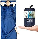 MIQIO® Hüttenschlafsack 2in1 mit durchgängigem Reißverschluss |Reiseschlafsack (90 x220cm) und...