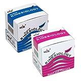 2x NASARA Kinesiologie Tape kinesiologische Tapes im Set * 5m x 50mm (2er 1x blau 1x pink)