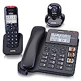 SWITEL Kombi Set aus Schnurlostelefon und Schnurtelefon mit Anrufbeantworter und Alarmanhaenger...