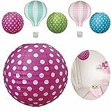 LS-Design Lampenschirm Papierlampe Lampion Japanballon Rot-Pink Weiss Punkte 50cm LS-LebenStil