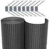 SONGMICS PVC Sichtschutzmatte Grau (100 x 500 cm) Sichtschutz für Garten Balkon und Terrasse...