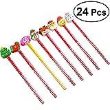 NUOLUX Weihnachtsbleistift mit Radiergummi 24 Stück Studenten Bleistifte für Weihnachtsgeschenk