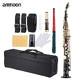 ammoon Messing Gerade Sopran Saxophon Bb B Flat Holzblasinstrument Natürliche Shell Key...