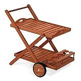 Servicewagen, Wagen aus Holz 77x 85x 59cm Mod.Wacholder, Wagen Bar aus Holz mit Rollen hinten,...