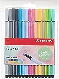 Premium-Filzstift - STABILO Pen 68 Pastel - 15er Pack - mit 15 verschiedenen Farben