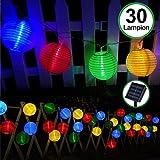 Solar Outdoor Lichterkette 30er 5.5m Led Lampion Laterne Bunt Lichterkette Außen Solarbetrieben...