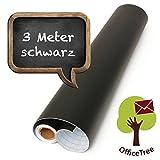 OfficeTree  Tafelfolie schwarz 300 cm Rolle - selbstklebend - 43 cm breit - Chalkboard - Schreiben...