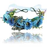 Boho Blume Stirnband Girlande Krone - Handgemachte Floral Haar Kranz mit Verstellbaren Band für...