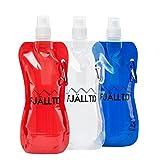 Fjälltid 3 faltbare Trinkflaschen 500ml im Set - Flexible Water Bottle mit Karabiner - 0,5l...