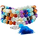 Shanxing 108 Perlen Edelstein Yoga Armband Schmuck Buddha Buddhistische Tibetische Gebetskette Mala...