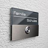 Metzler-Trade® Edelstahl Türklingel anthrazit inkl. Gravur und LED beleuchtetem Klingeltaster V2A,...
