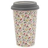 Krasilnikoff Thermobecher 'Travel Mug' Coffee to Go Becher Mille Fleurs Grau Blumen grau