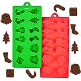 24er Pack Backform Pralinenformen Set für Weihnachtsdekorationen, Schneemänner, Bänder,...