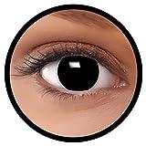 FXEYEZ® Farbige Kontaktlinsen schwarz 'Hexe' + Linsenbehälter, weich, ohne Stärke als 2er Pack -...