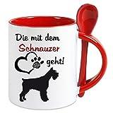 Creativ Deluxe Kaffeetasse m. Löffel - Die mit dem Schnauzer geht - Kaffeetasse mit Motiv,...