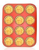 Philonext Silikon Muffinform, rote 12er Cupcake Backform / antihaftbeschichtet / spülmaschinenfest...