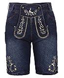 Kurze Herren Trachten-Hose (Jeans Stretch) mit Trachten-Stickerei im Lederhose-Stil, blau, Jeanshose...