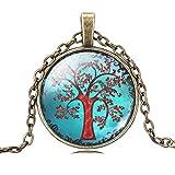 Mädchen Magie Rot Ahornbaum Halskette Leuchtende Glas Anhänger Verstellbar Bronze Kette Halskette