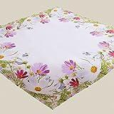 Fashion&Joy Tischdecke bunt bedruckt mit Blumenwiese Mitteldecke 85x85 cm weiß mit Digitaldruck...