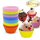 Silikon Muffinform,Yica 40 Stück Cupcake Muffinförmchen Silikon Muffin Form in 8 leuchtende...