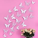 Wandkings 3D Deko Schmetterlinge - Wähle eine Farbe - Weiß mit Ornamenten - 12 Stück - mit...
