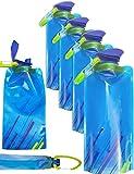 Outdoor Saxx - 4X Platz-sparende Faltbare Trink-Flasche mit Karabiner | BPA-Frei | Rucksack Fahrrad...
