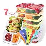 RayPard 7 Stück Bento/Lunchboxen(Mit 7 Gabel Löffel) ,3 Fach Brotdose Behälter mit farblich...