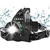 Zenoplige LED Stirnlampe, Kopflampe USB Wiederaufladbare,IPX6 Wasserdicht Leichtgewichts Zoombar...