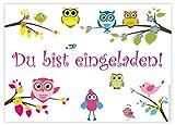 12 Einladungskarten Eulen zum Geburtstag/Einladungen Geburtstagseinladungen Kindergeburtstag Kinder...