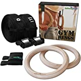 BeMaxx Turnringe Holz Gym Rings Fitness + Türanker & Trainingsguide – Olympische Gymnastik...