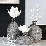 Vase Miro Keramik silber Oberflächenstruktur matt/glänzend silbernem Vasenhals, Deko, Blumen (Dick...