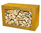 YERD Holzbox: stabiles Kaminholz-Regal 80x50x35cm in echtem Corten-Stahl oder Stahl...