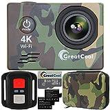 GreatCool Action Cam 4K Wifi Sensor Sony Wireless-Fernbedienung Kamera Camera Wasserdicht mit 2...