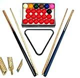nanook Snooker Set Komplett, mit Zubehör: 2 Queues, Snookerkugeln und Dreieck