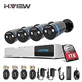 1080P Überwachungskamera System 4 x 1080P Wetterfest HD-Kamera Außen und 4CH DVR mit 1TB...