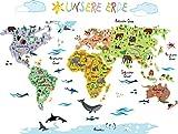Wandsticker Weltkarte Kinder | Geographie & Tierwelt spielerisch Erlernen mit der Wandtattoo /...